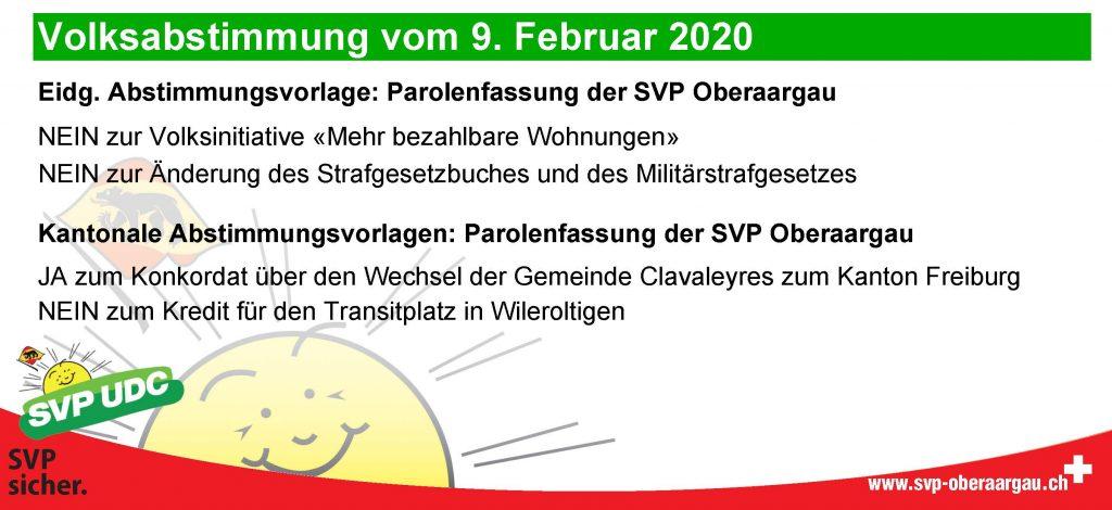 Parolen – Abstimmung 9. Februar 2020