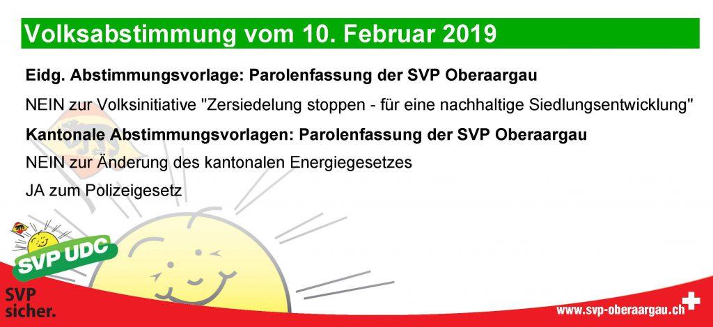 Abstimmungsparolen 10. Februar 2019