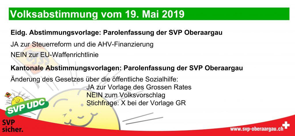 Abstimmungsparolen 19. Mai 2019